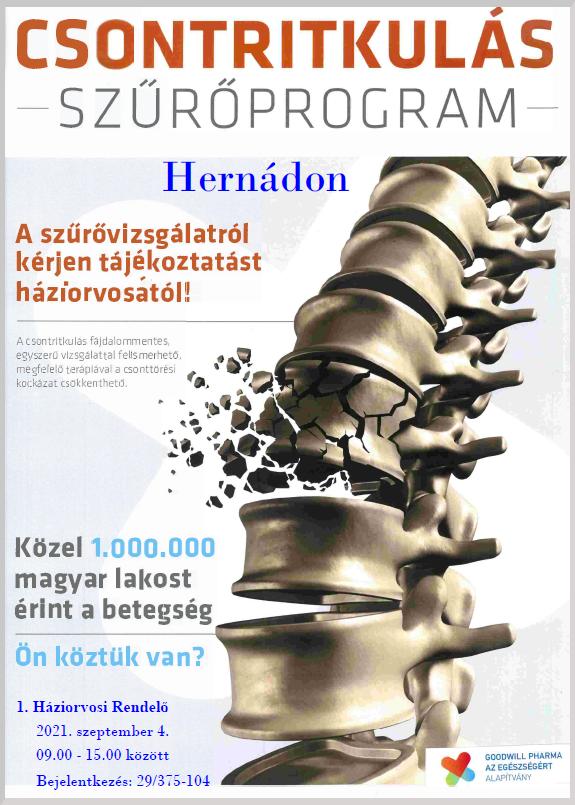 Csontritkulás szűrőprogram Hernádon